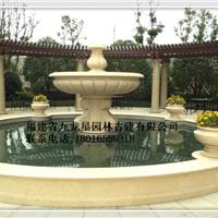埃及米黄喷泉水钵叠水钵天然石雕刻水钵厂家