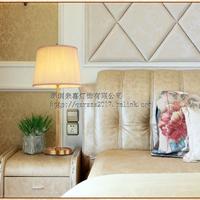美式现代全铜条纹布艺台灯