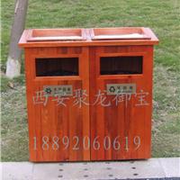 西安 防腐木垃圾桶 实木垃圾桶 公园垃圾桶