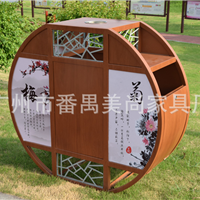 新款仿木纹垃圾桶 古香古色钢结构垃圾桶