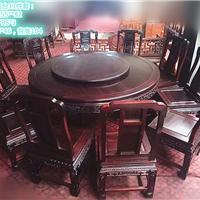小叶紫檀圆桌11件套 实木圆台餐桌带转盘 仿古象头红木餐台