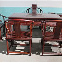 赞比亚小叶紫檀茶桌七件套 仿古实木中式茶台 功夫茶几茶桌椅组合