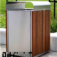 304不锈钢市政分类环保果皮箱 户外实木双桶垃圾桶4156