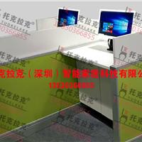 屏风升降电脑桌机考卡座 升降式屏风电脑桌