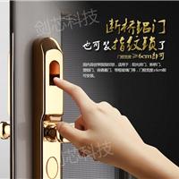 剑芯断桥铝指纹锁 肯德基塑钢门指纹密码锁
