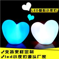 爱心七彩闪光装饰夜灯 新奇特儿童搪胶创意发光玩具LED小夜灯批发