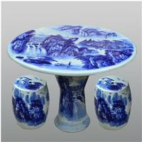 景德镇陶瓷桌凳套装 青花花鸟 户外庭院露天阳台休闲桌椅