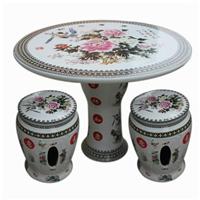 粉彩陶瓷瓷桌子凳子套装 漂亮粉彩牡丹手绘瓷器桌凳套装