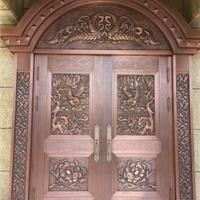 紫铜门自动门旋转门铜雕塑浮雕
