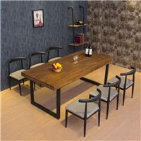 厂家供应铁艺实木桌椅组合,主题餐厅成套家具厂家众美德