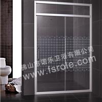 佛山淋浴房厂家批发优质铝型材两固两移丝印浴室活动隔断R042