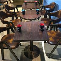 新款实木复古咖啡厅桌椅奶茶甜品店西餐厅酒吧桌椅餐厅餐桌椅组合