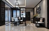 东方鼎盛御府装修效果图-170平四室两厅-中式传统韵味荷叶点缀背景墙-背景墙