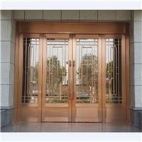 供应铜质玻璃地弹门 古典美观铜质门