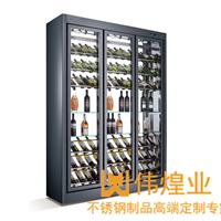 佛山不锈钢洋酒架红酒柜展示陈列架专业制作