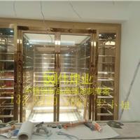 广州不锈钢酒窖工程 钛金镜面红酒柜