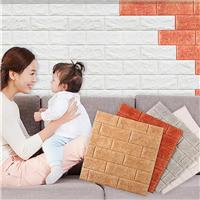韩国进口墙贴3D立体砖纹背景墙泡沫自粘壁纸